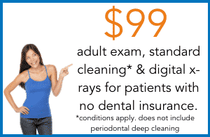 $99 cleaning and exam for adults
